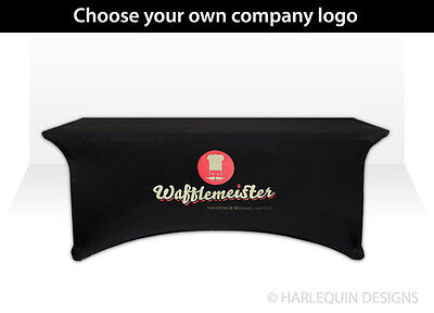 Custom Promotional Black Exhibition Spandex Tablecloth, Printed with your logo