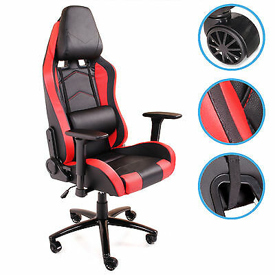 Home Office Computer Desk Gaming Sport Race Pu Leather Recliner 360 Swivel Chair