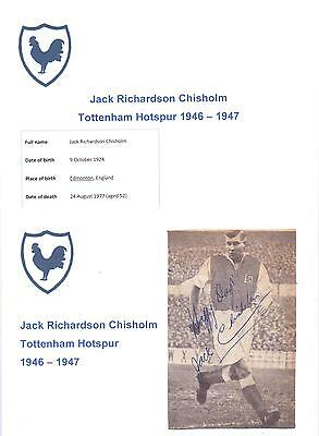Jack Chisholm Tottenham Hotspur 1946-1947 Very Rare Original Hand Signed Cutting