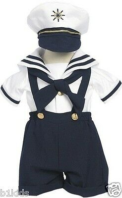 Sailor Short Set Boys Navy White Nautical Outfit Set Infant 3-12M Toddlers 2T-4T