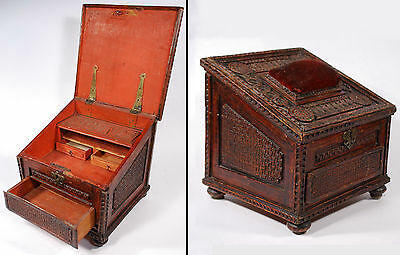 18th Century  Wood Carved Sewing Box  (interesting initials MBSCM INPF ?)