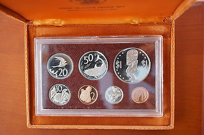 1975 Cook Islands Proof Coin set - 7 Deep Cameo Coins Cased w/ COA
