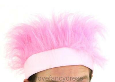 Pink Furry Headband Wig 80's Fancy Dress Costume Accessory Ladies Mens Adult