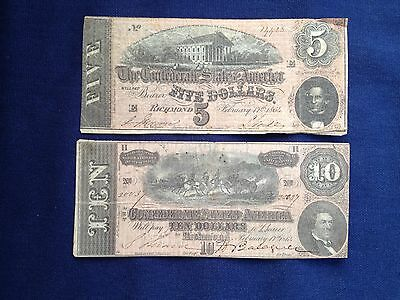 Lot Of 2- 1864 $10 & $5 Confederate States Of America Large Notes!!!!
