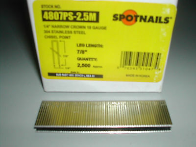 Spotnails 18 Gauge 7/8 Length Stainless Steel Staples Senco L Series 4807PS