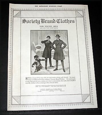 1919 Old Magazine Print Ad, Society Brand Clothes For Young Men, Fashion Art!