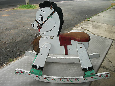 Vintage Shabby Chic Rocking Horse for Small Retro Hipster Child Needs Attention