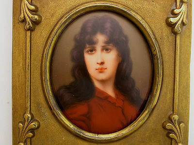 Antique KPM Quality Porcelain Painting a Dark Haired Beauty in Red Ornate Frame