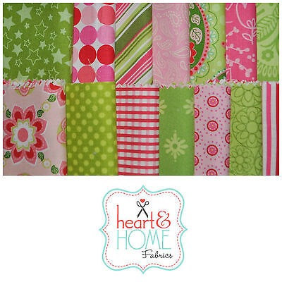 """Designer Fabric 5"""" Squares Charm Pack, Lime Green and Pink, 56 pcs, 100% cotton"""