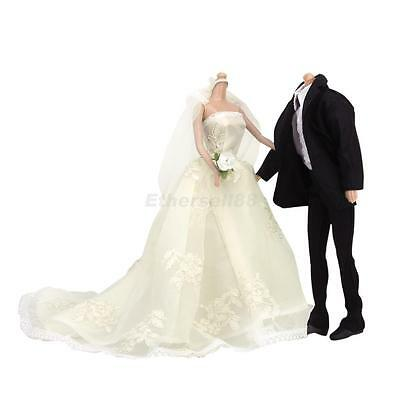 Lace Dress Ball Gown Wedding + Black Suit Clothing Outfit for Barbie Ken Dolls
