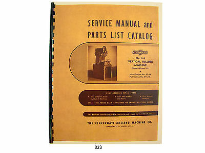 Cincinnati Milling Machine # 0-8 Models EA & OT Service Manual Parts List *823
