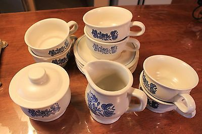 Pfaltzgraff Yorktown Cream and Sugar and 6 Coffee Mugs and 4 Saucers