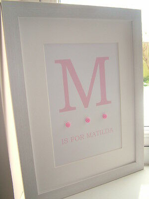 Personalised Girl Wall Art Print Christening Gift Baby Shower Keepsake Framed