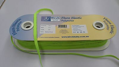 8mm WIDE :  BIRCH FLURO YELLOW  POLYESTER ELASTIC : 5 METRES : #BF02A