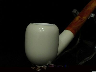 Smooth Bent Long stem block Meerschaum pipe 煙斗 meerco guaranteed perfect bowl