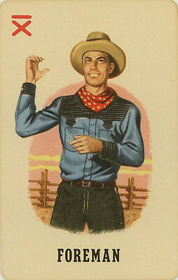 Vintage Single Swap Game Card: 'Foreman' (from the Whitman card game: Roundup).