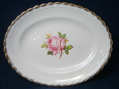 "J & G MEAKIN - MEK266 Pink Rose Center - OVAL SERVING PLATTER - 11 1/4"" - 43G"