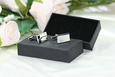 Engraved Personalised Silver Plated Rectangle Cufflinks & Box Wedding Birthday