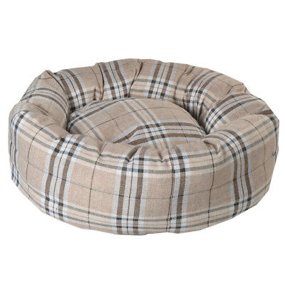 Luxurious Donut Dog Bed in Tartan Oatmeal Check Nesting Pet Bed in 4 Sizes