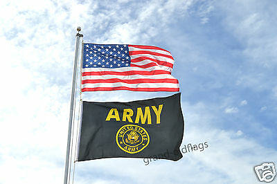 LOT 3'X5' U.S./ AMERICAN & 3X5 US ARMY BLACK & GOLD FLAG