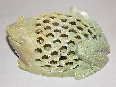 """NEW GENUINE HAND CARVED MARBLE FROG TOAD WITH BABY INSIDE FIGURE PAPERWEIGHT  5"""""""