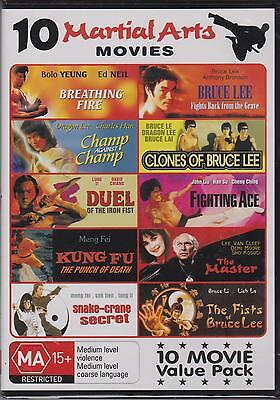 10 MARTIAL ARTS MOVIES on 3 DVD's - NEW - BRUCE LEE - KUNG FU -