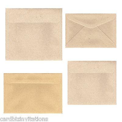 Kraft  Brown Envelopes (20)  5x7  130x180 C6 160Sq 130Sq C5 Large Recycled New