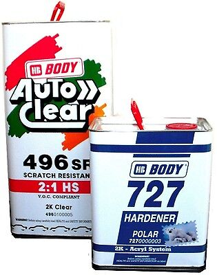 2k Clear Lacquer 496 & 727 HB Body Scratch Resistant Super Gloss 7.5lt kit