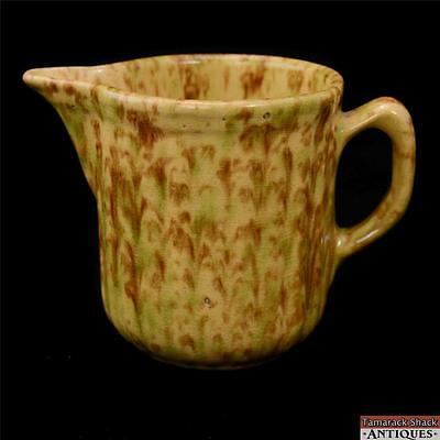 19th Century Yellow Ware Squat Round Pitcher Yellow Tan Brown Green Antique