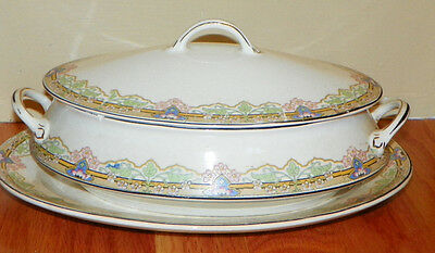 Vintage Steubenville China Pottery Oval Vegetable Dish with Tray, floral design