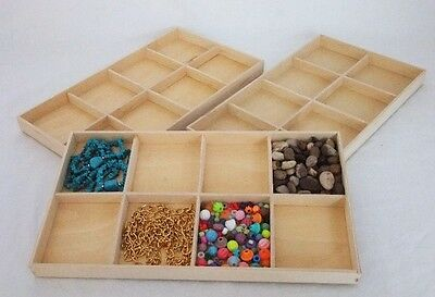 Package Of Three  8 In 1 Natural Wood Jewelry Display Trays