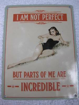 Vintage Style Metal Sign-IM NOT PERFECT BUT SOME PARTS OF ME ARE INCREDIBLE-FAB!