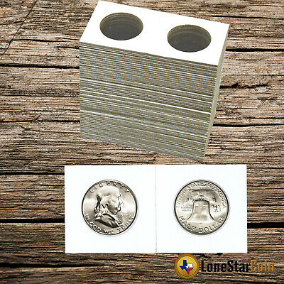 100 2x2 HALF DOLLAR Mylar Cardboard Coin Holder Flips