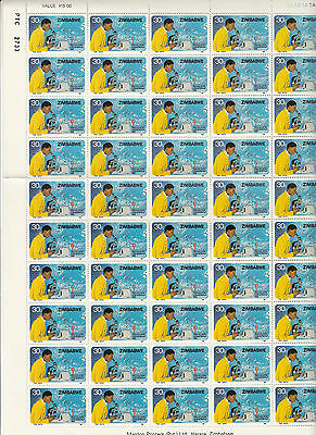 Stamps 1982 Zimbabwe 30c scientist microscope complete sheet of 50, MUH no gum