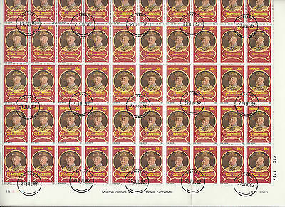 Stamps 1982 Zimbabwe Scouting Year 30c Baden Powell complete sheet of 50, cto