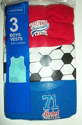 Baby Boys 3 Pack Football detail Vests in Red, White and Blue