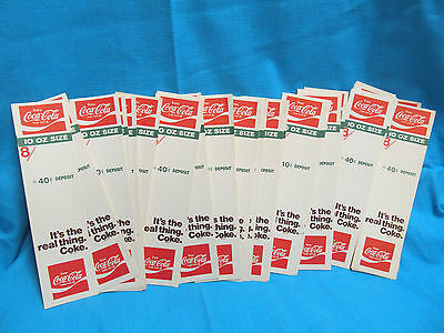 Vintage Coca Cola It's The Real Thing Coke Bottle Advertising Tag 10 Oz 8 Pack