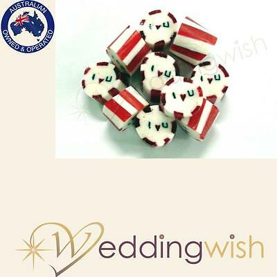 500g Rock Candy Wedding Favour/Bomboniere - I Heart You, Fast Dispatch