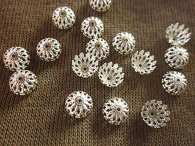 50 Silver Coloured 8x3mm Filigree Bead Caps #bc527 Combine Post-See Listing