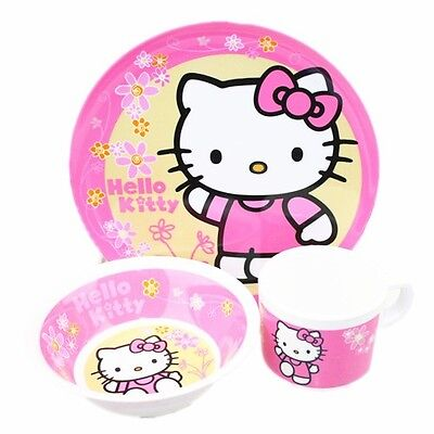 Hello Kitty 3Pcs Dinner Set Plastic Plate Bowl Cup Kids Girls  Bpa Free