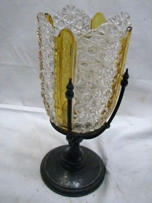Antique Simpson Hall Miller Silver Plate Celery Stand Daisy Button Glass Amber