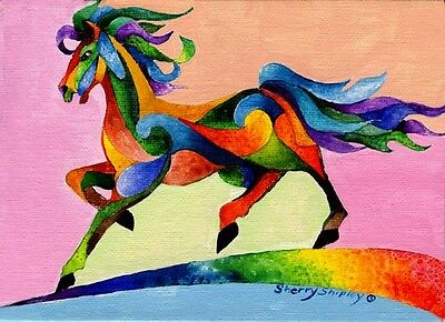 RAINBOW WIND Horse Original 5x7 Acrylic Framed Painting by Sherry Shipley