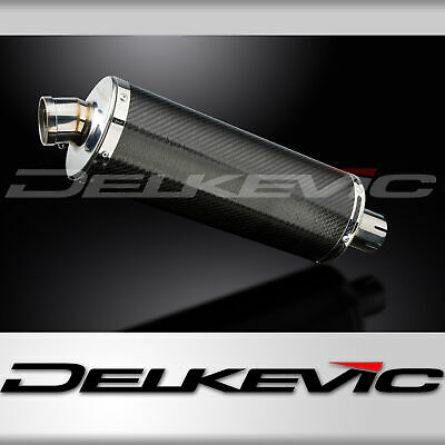DELKEVIC EXHAUST SILENCER WITH REMOVABLE BAFFLE 350mm OVAL CARBON FIBRE