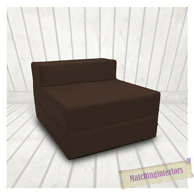 Brown Budget Block Filled Cotton Fold Out Z Bed Folding Mattress Sofa Chair Bed