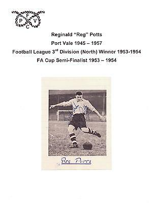Reg Potts Port Vale 1945-1957 Rare Original Hand Signed Picture Cutting