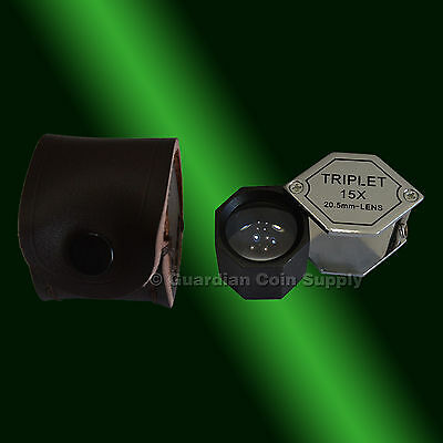 15x Triplet Loupe Magnifier with Leather Case