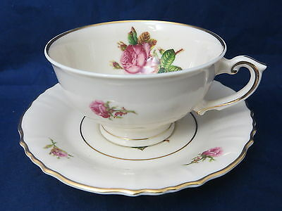 SYRACUSE CHINA - Victoria - Rose Center - CUP & SAUCER SET - 35A