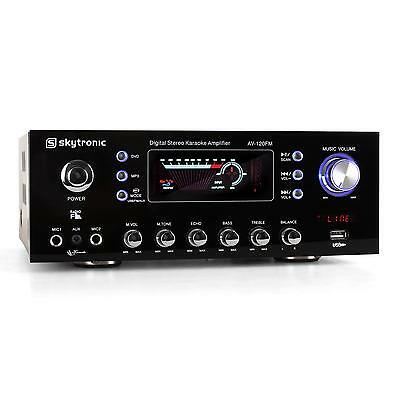 Amplificatore Karaoke Skytronic Av-120Fm 2X60W Rms 2 Ingressi Mic Usb Mp3 Fm Rca