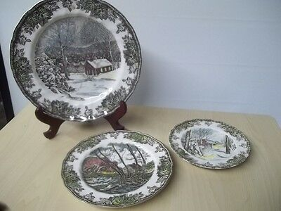 VINTAGE 3 PIECE JOHNSON BROTHERS THE FRIENDLY VILLAGE PLATES TR