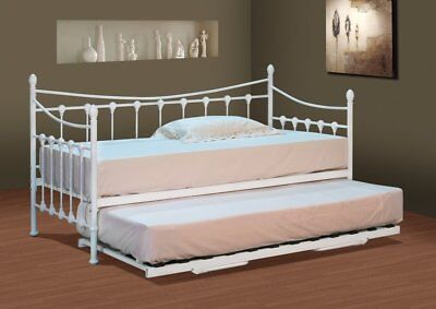 Stunning White Metal Day Bed with or without Trundle and Mattress Options